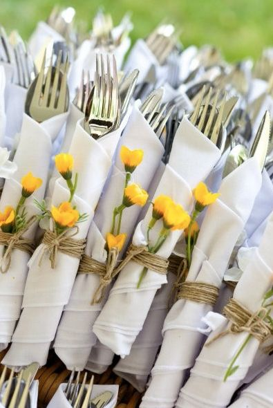 Cute cutlery idea for wedding BBQ but maybe with a small paper rose