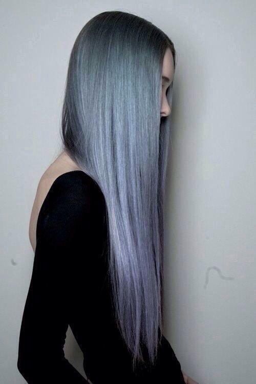 Long pastel blue hair