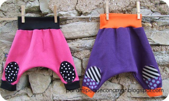 """Para mi peque con amor: Pantalones bombachos """"cagados"""" para bebé en tela de sudadera. CON LINK A TELAS"""