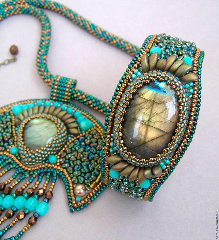 """Купить Комплект """"Майский вечер"""" - морская волна, бирюзовый, зеленый, бронзовый, кулон, браслет"""