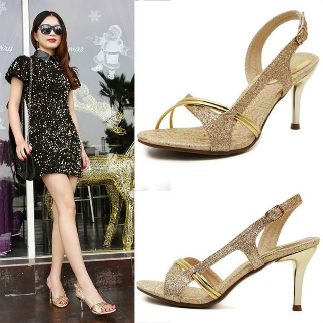 Open Toe Thin Heels Sandals Female High-heeled Shoes Women Gold Sexy Fish Mouth Comfortable Breathable Sandals Wedding Pumps