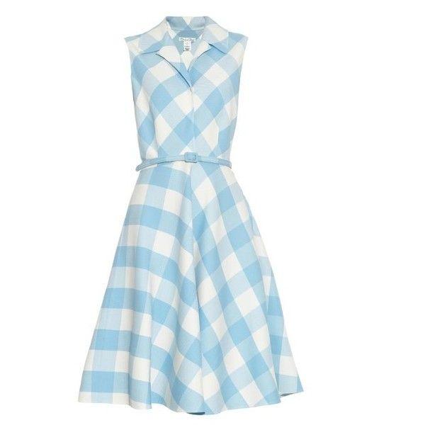 Oscar De La Renta Gingham wool-blend dress (75,695 DOP) ❤ liked on Polyvore featuring dresses, vestidos, light blue, waist belt, blue gingham dress, vintage style dresses, blue waist belt and oscar de la renta dresses