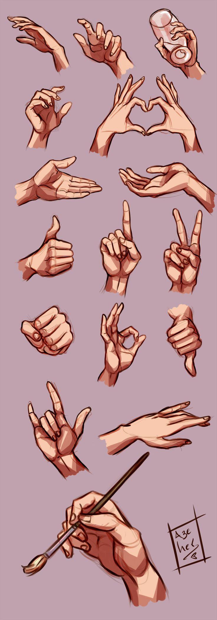 Hands study by Azeher.deviantart… on @deviantART