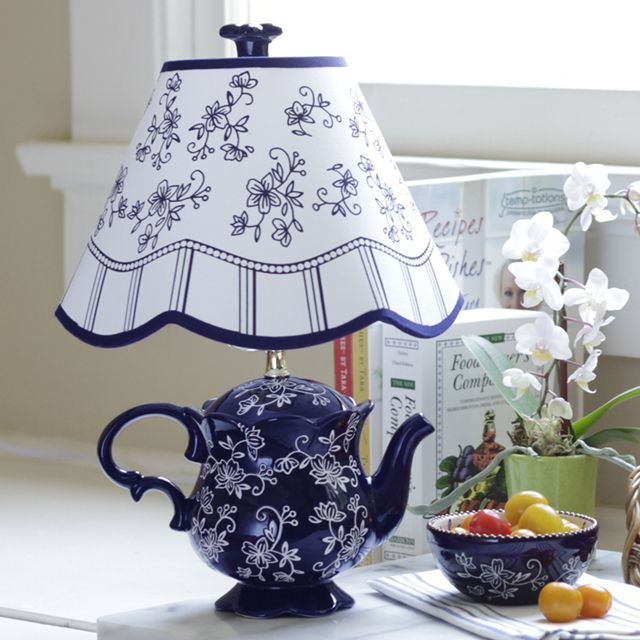 temp-tations® Floral Lace Teapot Lamp :: temp-tations® by Tara in Blue