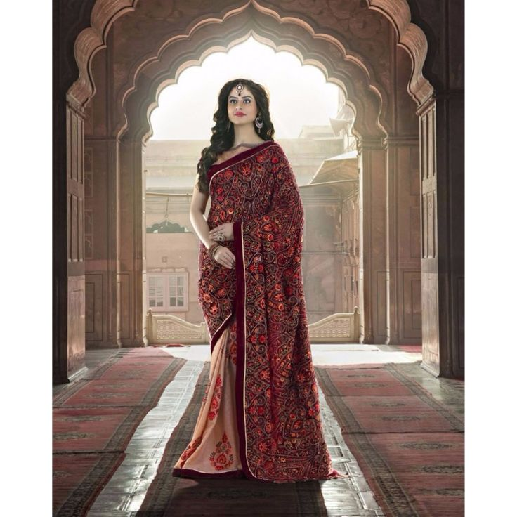Maroon and Cream Velvet Wedding #Saree With Blouse- $173.70