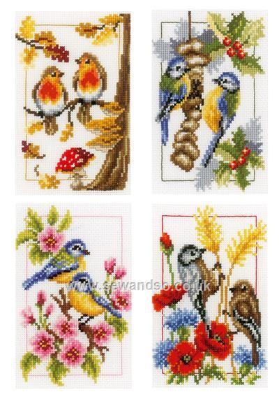 Buy+Four+Seasons+Birds,+Set+of+4+Cross+Stitch+Kit+Online+at+www.sewandso.co.uk