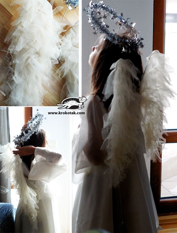 DIY Coat-Hanger Angel Wings Tutorial - thinking this might come in handy for Christmas plays!