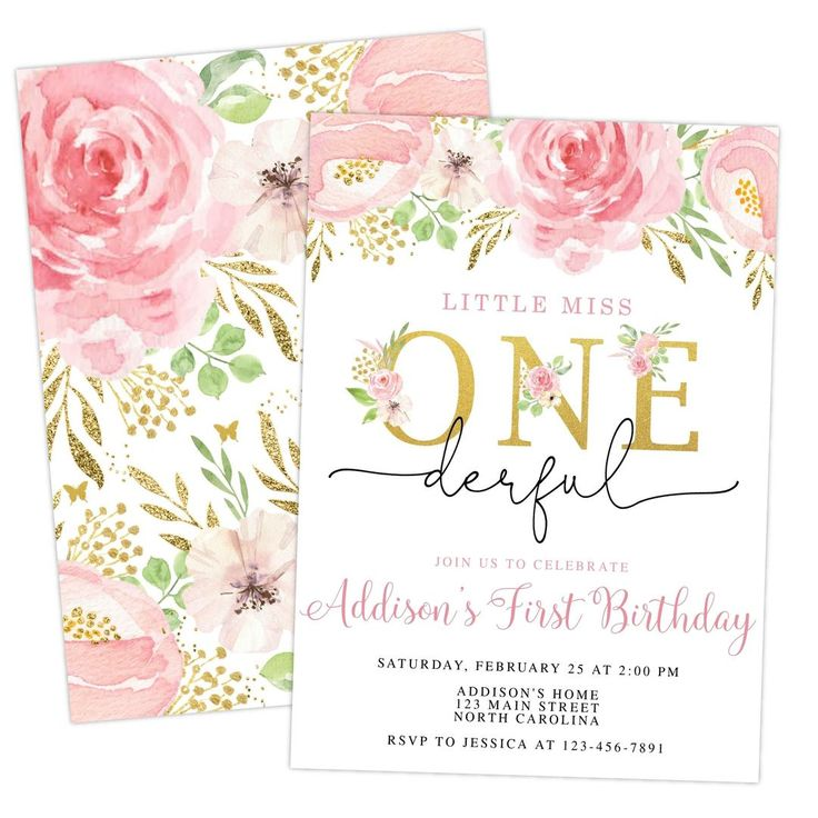 Little Miss ONEderful First Birthday Invitation Printable