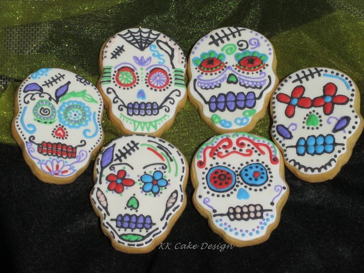 Sugar skull cookies decorated with piped royal icing