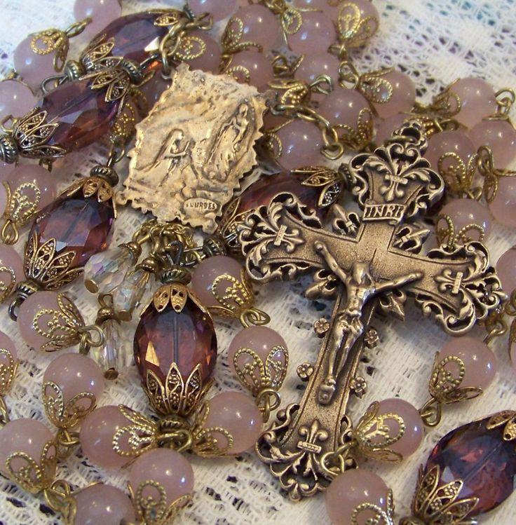 French Rosary ~ St Bernadette ~ Our Lady of Lourdes ~ 8mm Rose Quartz ~ Bronze