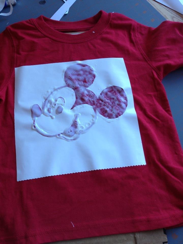 Bleach pen disaster turned into fabric paint success.  DIY Disney shirt NICE