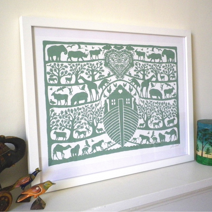 Personalised Noah's Ark Heart Print. precious for a nursery one day.
