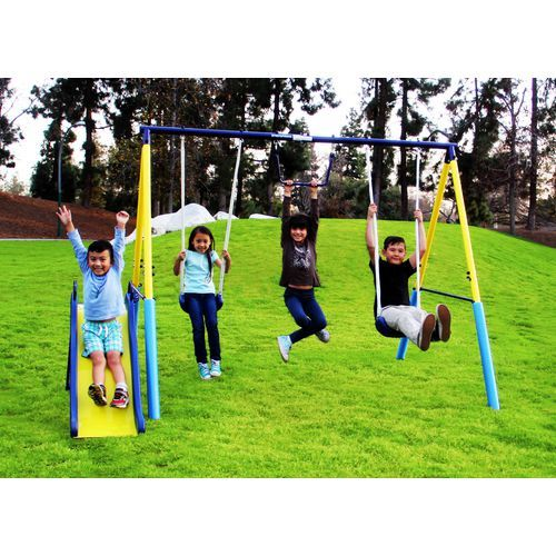 The Sportspower Rosemead Metal Swing and Slide Set features a 6' wavy slide and 2 blow-molded swings.