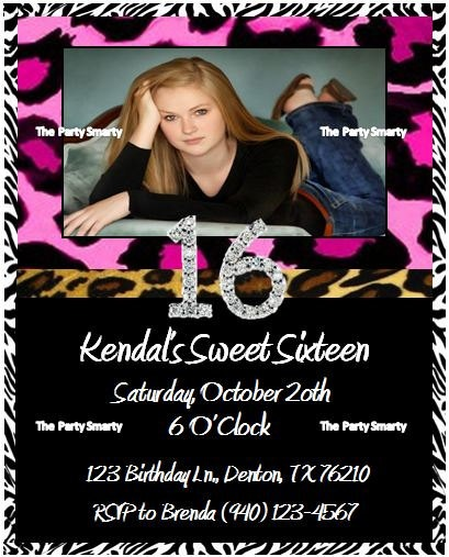 Animal Print Sweet 16 Birthday Invitation By ThePartySmarty, $10.00