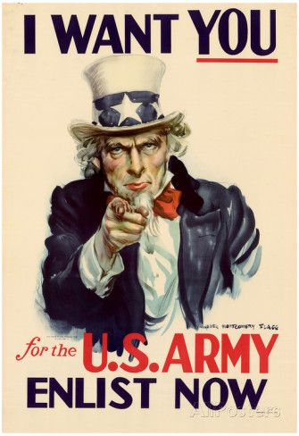 Uncle Sam I Want You for U.S. Army WWII War Propaganda Art Print Poster Poster
