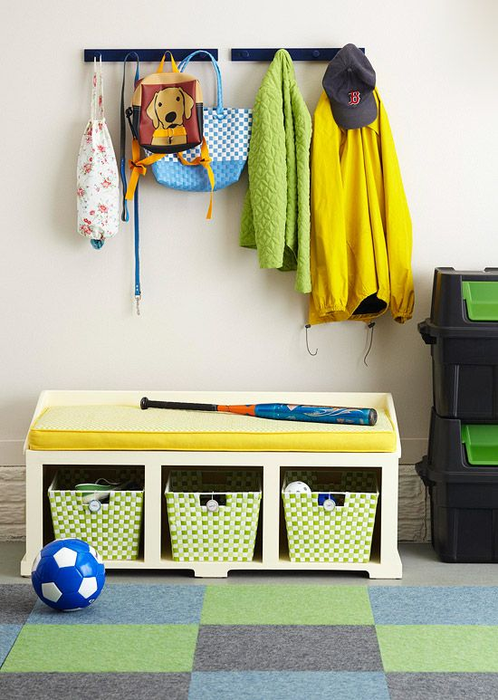Great kid zone in this garage.: Kids Boys Rooms, Kids Area, Kids Sports, Garage Storage, Sports Equipment Storage, Garage Benches, Storage Ideas, Storage Benches, Kids Zone