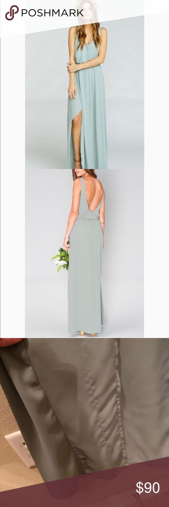 SMYM Kendall maxi in silver sage crisp SMYM Kendall maxi in silver sage crisp size small. Has a run near the bottom, but not really noticeable once on. See photo. This is part of MuMu's bridal collection. Perfect for a bridesmaid or just for fun! No holds or trades Show Me Your MuMu Dresses Maxi