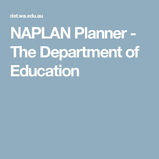 NAPLAN Planner - The Department of Education