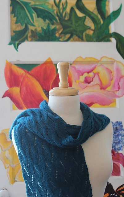 salonihs' Spring Scarf - lacy scarf uses just 1 skein of Arctic Treasure. Pattern is the Butternut Scarf by Anne Hanson.