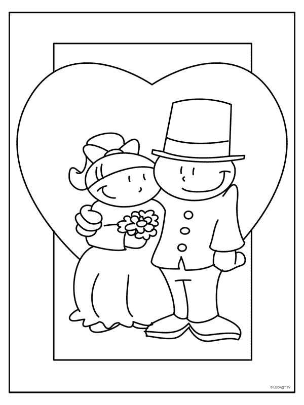 kleurplaten thema trouwen