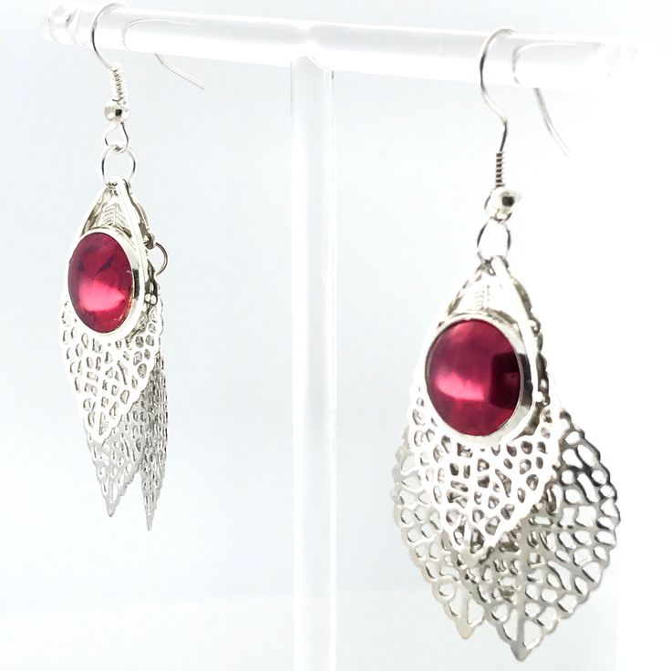 Red Silver Leaves drop handmade earrings Valentine by VividSister on Etsy https://www.etsy.com/au/listing/547879071/red-silver-leaves-drop-handmade-earrings