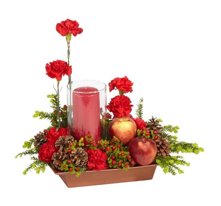 Christmas flower arrangement for kitchen table flowers for Kitchen arrangements photos