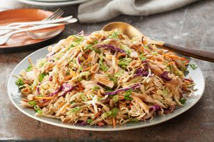 Asian Chicken Salad   what you need  1 pkg. (3 oz.) ramen noodle soup mix  1 pkg.  (14 oz.) coleslaw blend (cabbage slaw mix)  2 cups shredded or chopped cooked chicken breasts  4   green onions, diagonally sliced  1/3 cup PLANTERS COCKTAIL Peanuts  1/2 cup  KRAFT Light Asian Toasted Sesame Dressing  1 Tbsp. PLANTERS Creamy Peanut Butter  make it