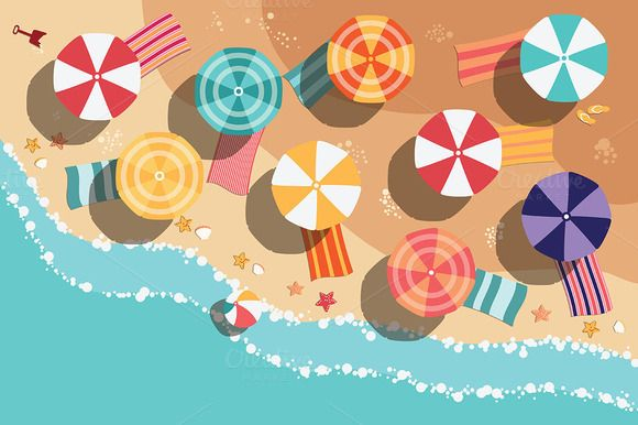 Beach Flat Design - aerial view by Blue Lela Illustrations on Creative Market