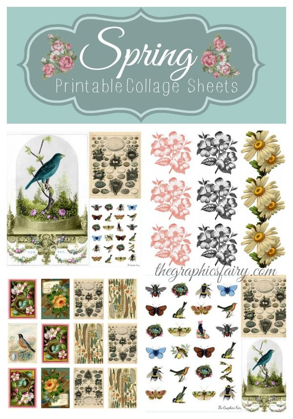 Spring Printable Collage Sheets | TheGraphicsFairy.com