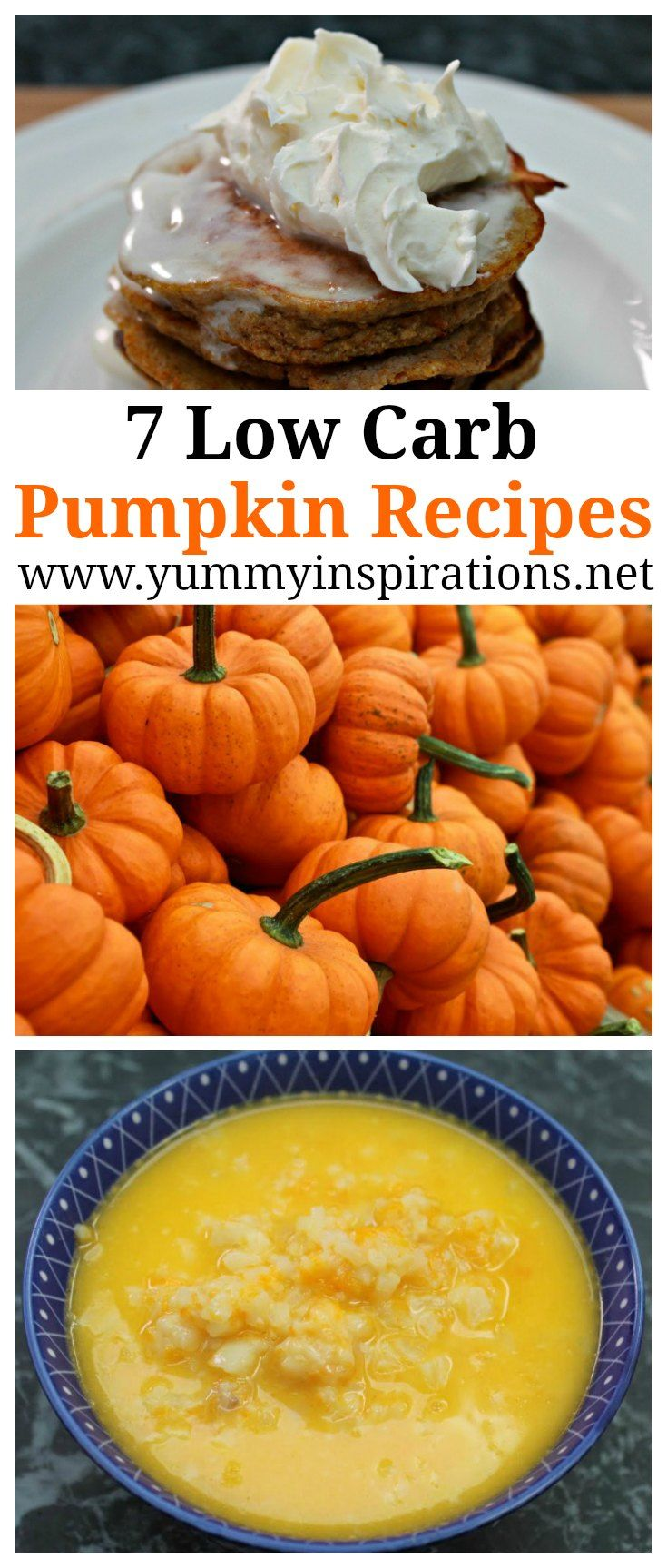 7 Low Carb Pumpkin Recipes - Keto Diet Friendly pumpkin recipe ideas including pancakes, soup, pie, bread, cheesecake and more.