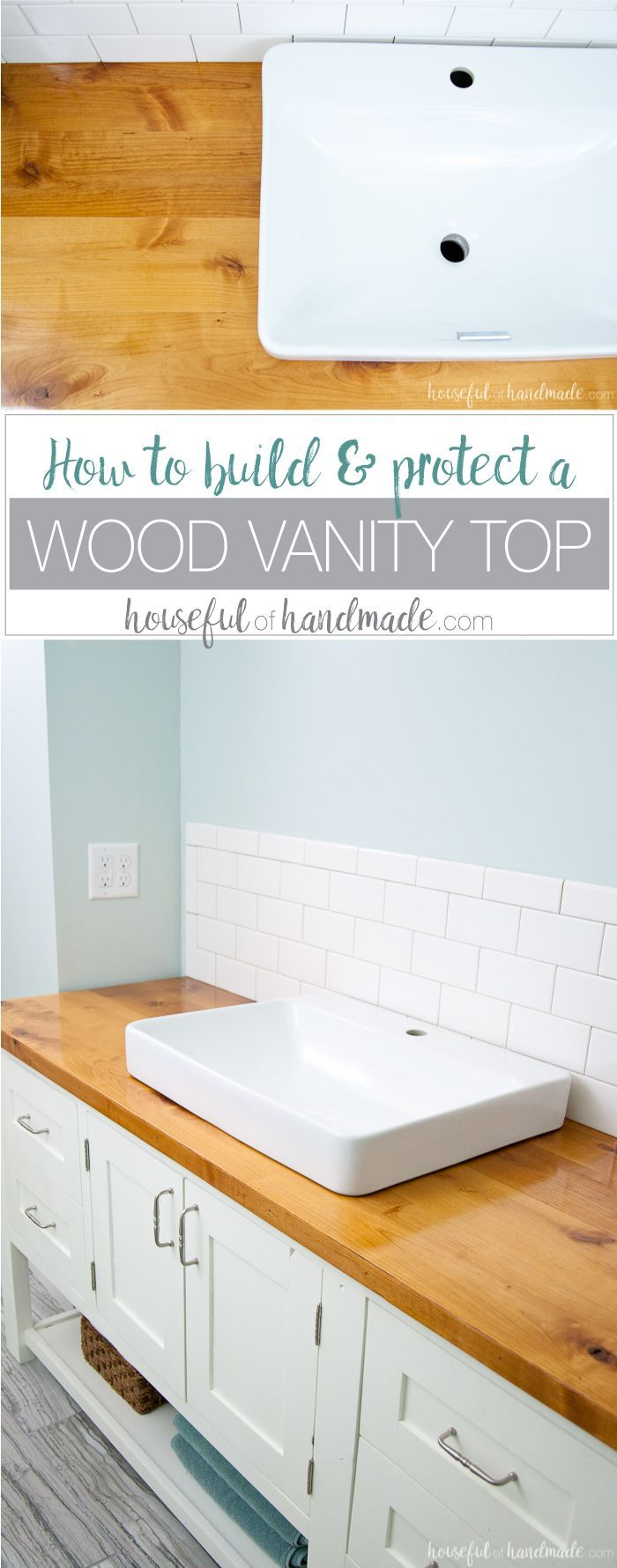 I absolutely love the look of this bathroom vanity! Add some rustic warmth to your farmhouse bathroom by adding a waterproof wood vanity top. Learn how to build & protect a wood vanity top for your next DIY renovation.   Housefulofhandmade.com