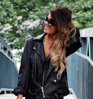 Ombre HairHairstyles, Hair Colors, Haircolor, Ombre Hair, Makeup, Ombrehair, Long Hair, Leather Jackets, Hair Style