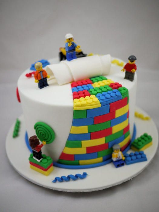 """Lego Cake made for a little boy's birthday. The client provided a picture, an idea and the lego! 8"""" Chocolate Mud Cake with Dark Chocolate Ganache and Fondant Everything is edible except for the lego itself :)"""