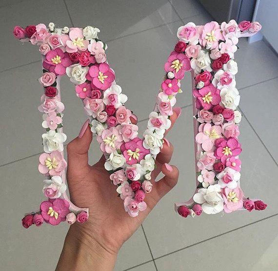 Floral Letters Dark Pink Meduim Pink Soft Pink Roses