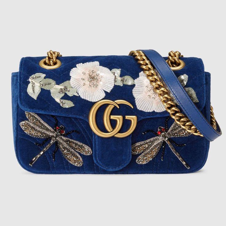 GUCCI GG Marmont embroidered velvet mini bag - cobalt blue chevron velvet. #gucci #bags #velvet #lining #shoulder bags #crystal #hand bags #silk #