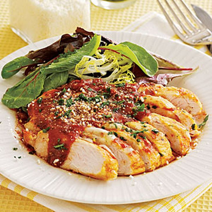 Chicken Parmesan Recipe Main Dishes with flour for dusting, pepper, salt, chicken cutlets, extra-virgin olive oil, white wine, tomato sauce, part-skim mozzarella, chopped parsley, grated parmesan cheese