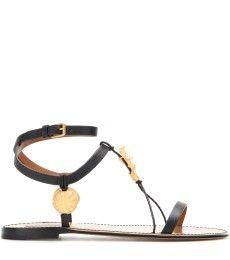 Valentino - Embellished leather sandals - mytheresa.com