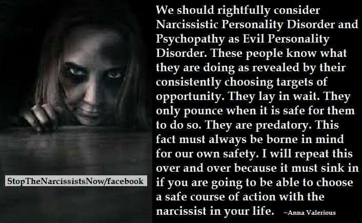 Narcissistic Personality Disorder= Evil Personality Disorder. ~ It's is an absolute horror that I must apply this particular pin to my Toxic Mother board, but as her disorder proved very nearly Fatal to me, I must agree completely. Narcissism is Evil personified. ~ Aria
