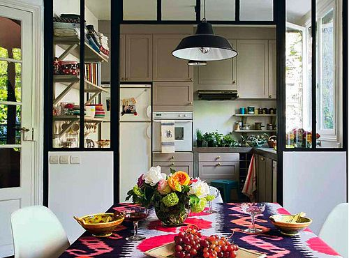 pink ikatDining Rooms, Cabinets Colors, Windows Frames, Interiors, Glasses Wall, Kitchens Dining, Black Windows, Dividers Wall, Room Dividers