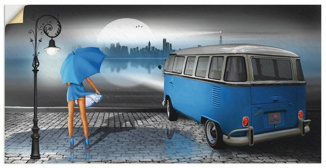 Premium Wandfolie »Mausopardia: Regennacht in Blau mit Bulli T1«