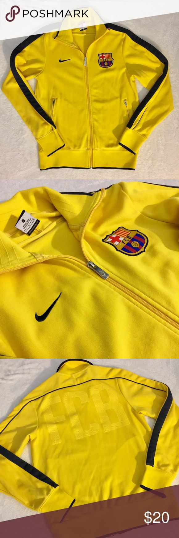 NIKE FC Barcelona training jacket Clean, size small, rarely used training jacket. 53% polyester, 47% cotton. Nike Sweaters