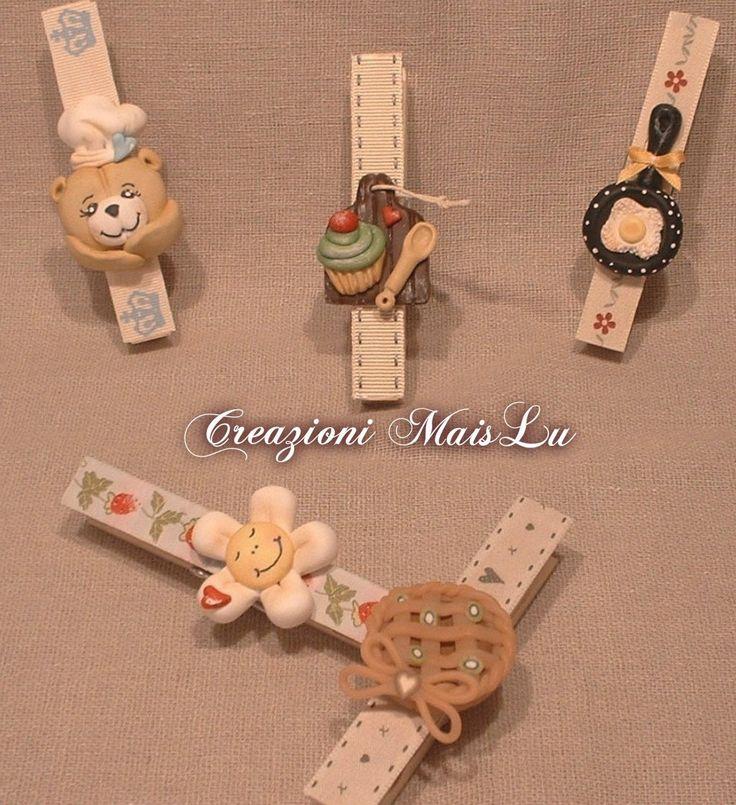Mollette in legno chiudisacchetti decorate con paste polimeriche