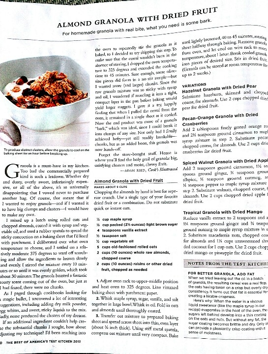 Granola Recipe From America's Test Kitchen / Cook's