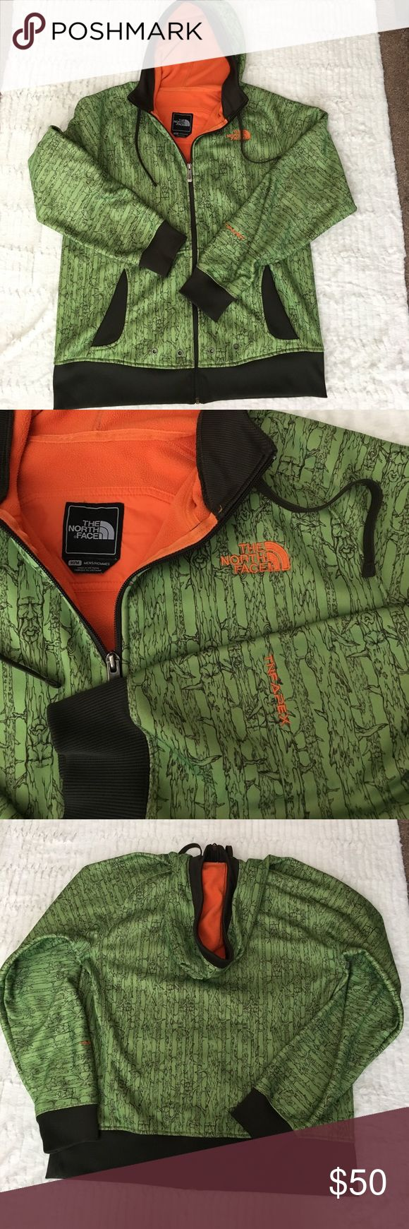 """The North Face TNF Apex men's hooded jacket Green and brown with tree branch design soft shell outer. Orange fleece lined. Grommet detail on lower front. Excellent condition. Approximate measurements: 23"""" chest, 26"""" long. Men's M. The North Face Jackets & Coats"""