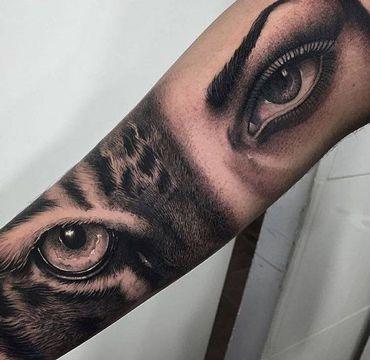 tatuajes de caras de mujeres y animales