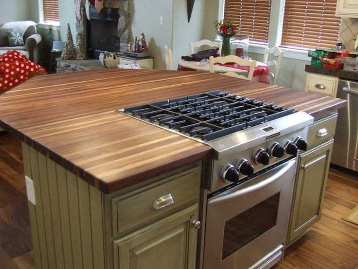 Kitchen, : Modern IKEA Butcher Block Kitchen Countertop With Built In Gas Stove And Oven Also Vintage Kitchen Island Combination Ideas