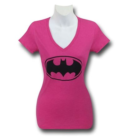 Save $5 on any order over $25 order when you share our page to your favorite social media network.  Discount does not apply to HeroBox Batgirl Symbol Women's Pink V-Neck T-Shirt