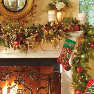 1000 ideas about pre lit christmas garland on pinterest for Christmas garland on fireplace