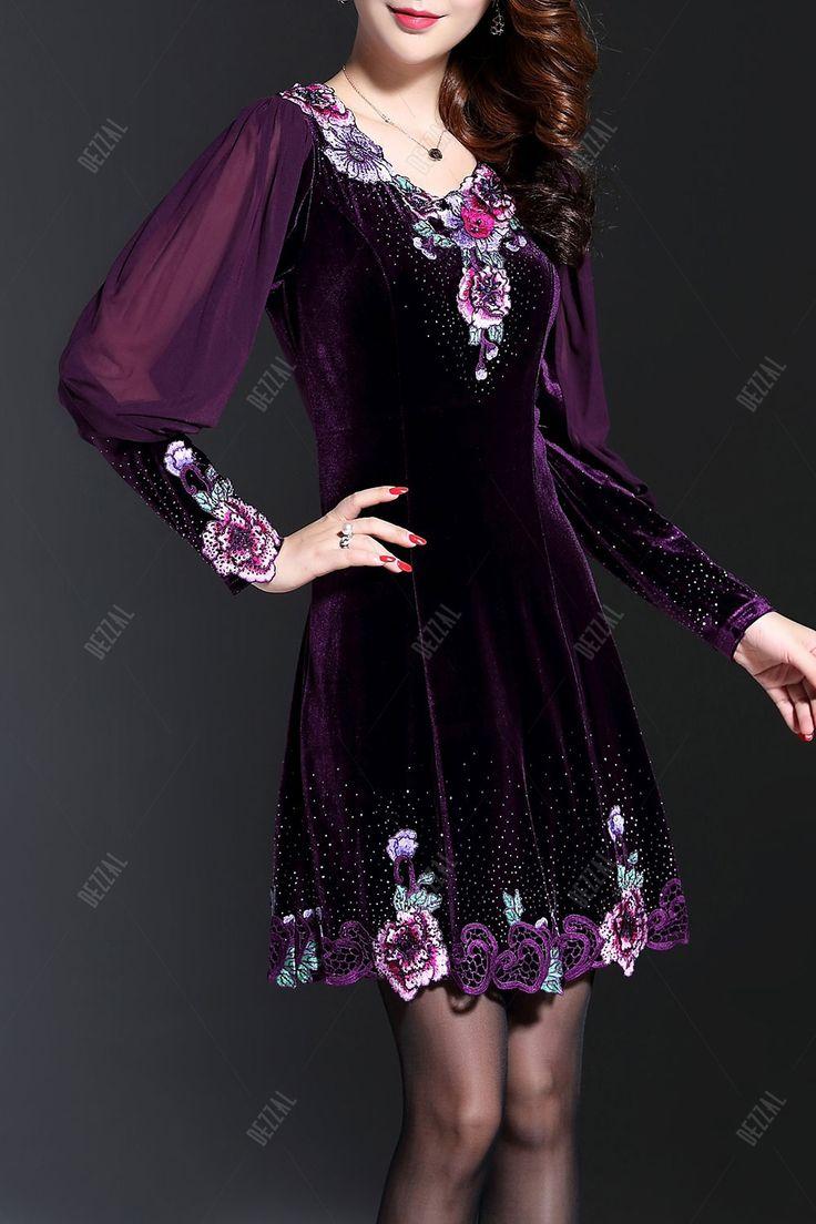 Long Sleeve Embroidered Velvet Dress