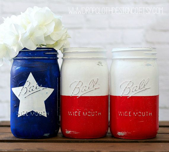 Hey, I found this really awesome Etsy listing at https://www.etsy.com/listing/226224545/texas-flag-mason-jar-set-red-white-blue